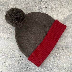 The Rail Brown Grey and Red Pom Hat